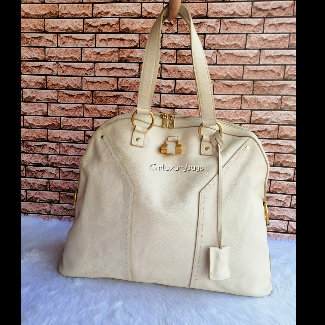 Authentic Yves Saint Laurent Ysl White Leather Oversized Muse Bag ... d96424f4e100c