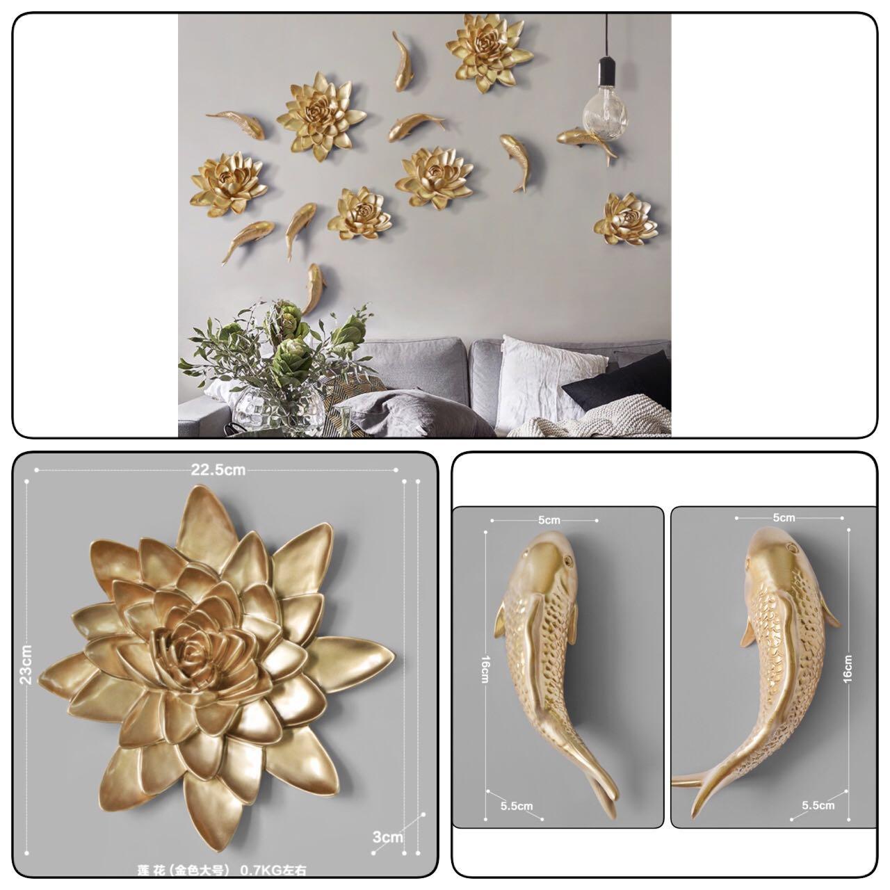 Beautiful 3 Piece Gold Art Sculpture Wall Decor Set Furniture