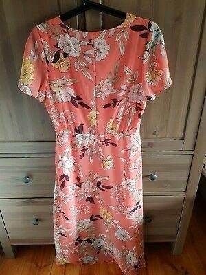 Brand New FLORAL Goddess CORAL Pink Buttoned COCKTAIL Party Dress Size 8-10 XS S