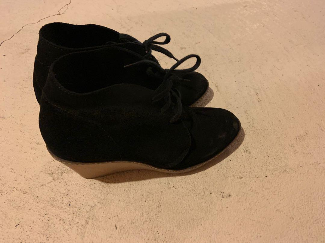 Brand new with box Jcrew wedge booties. On trend. Size 8. Retails for $200+