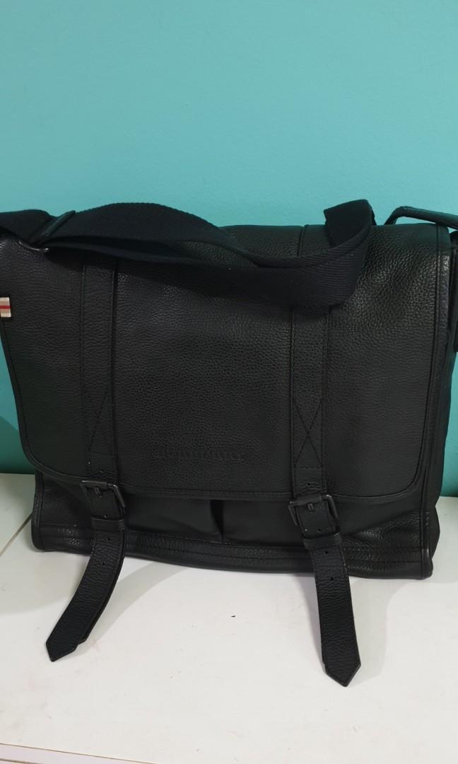 f3853c12ff Final Sale Burberry black leather messenger sling bag