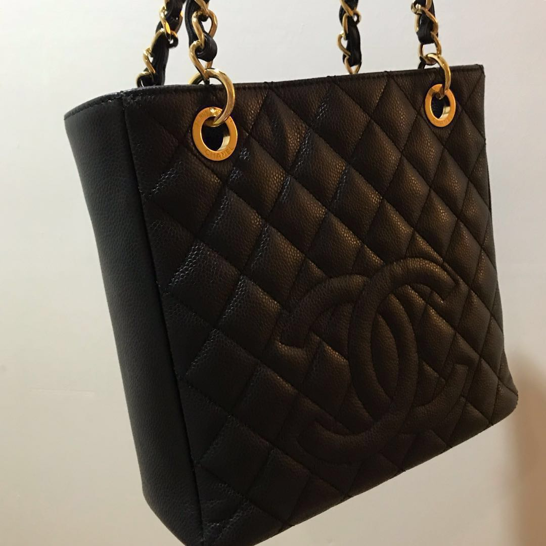 781d560ef9b355 Chanel Petite Shopping Tote PST Black Caviar Gold Hardware, Luxury ...
