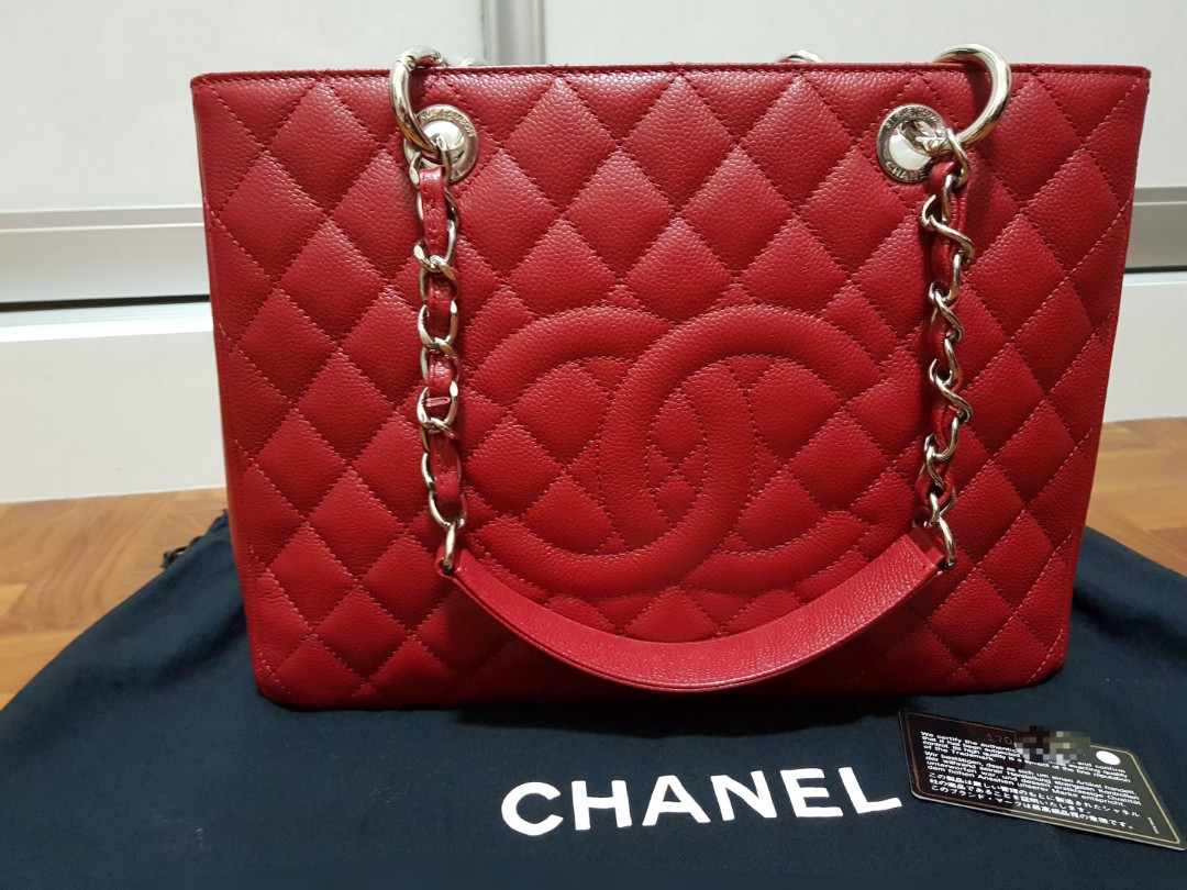 d88feee8af3b Chanel Red GST Grand Shopping Tote Bag, Luxury, Bags & Wallets ...