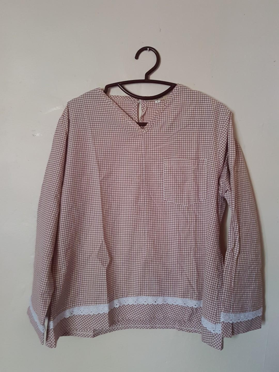 Checkered Brown Blouse