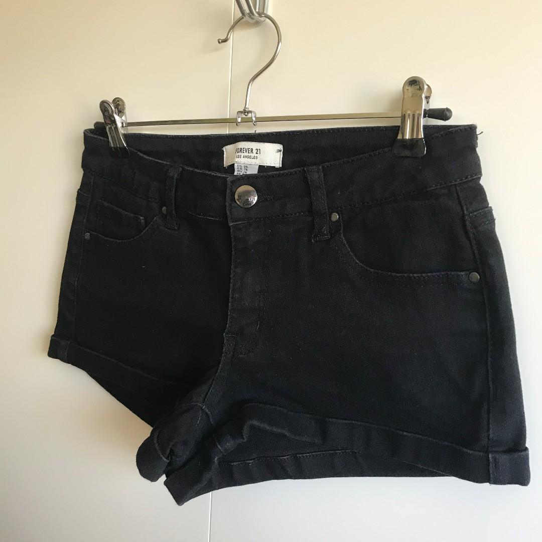 Forever 21 Black Denim Shorts (AU8/EU36)