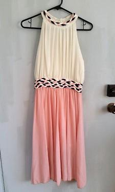 GRECIAN Roman Goddess Pink White Formal COCKTAIL Party Dress Size 8-10 XS S-M