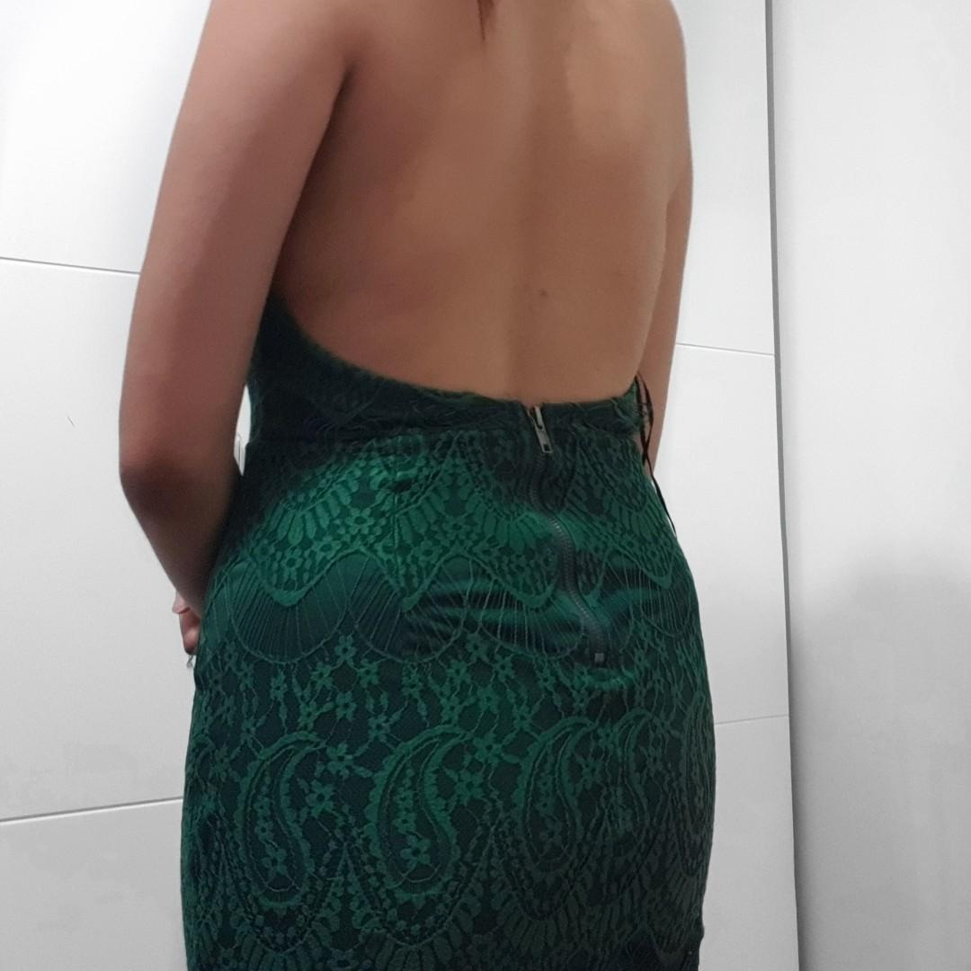 green backless mini dress