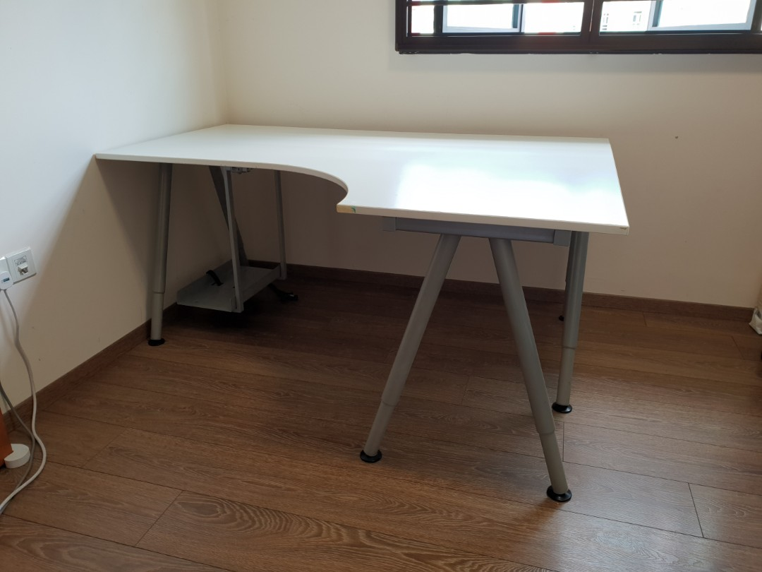 Ikea Galant White Corner Desk, Furniture, Tables & Chairs on