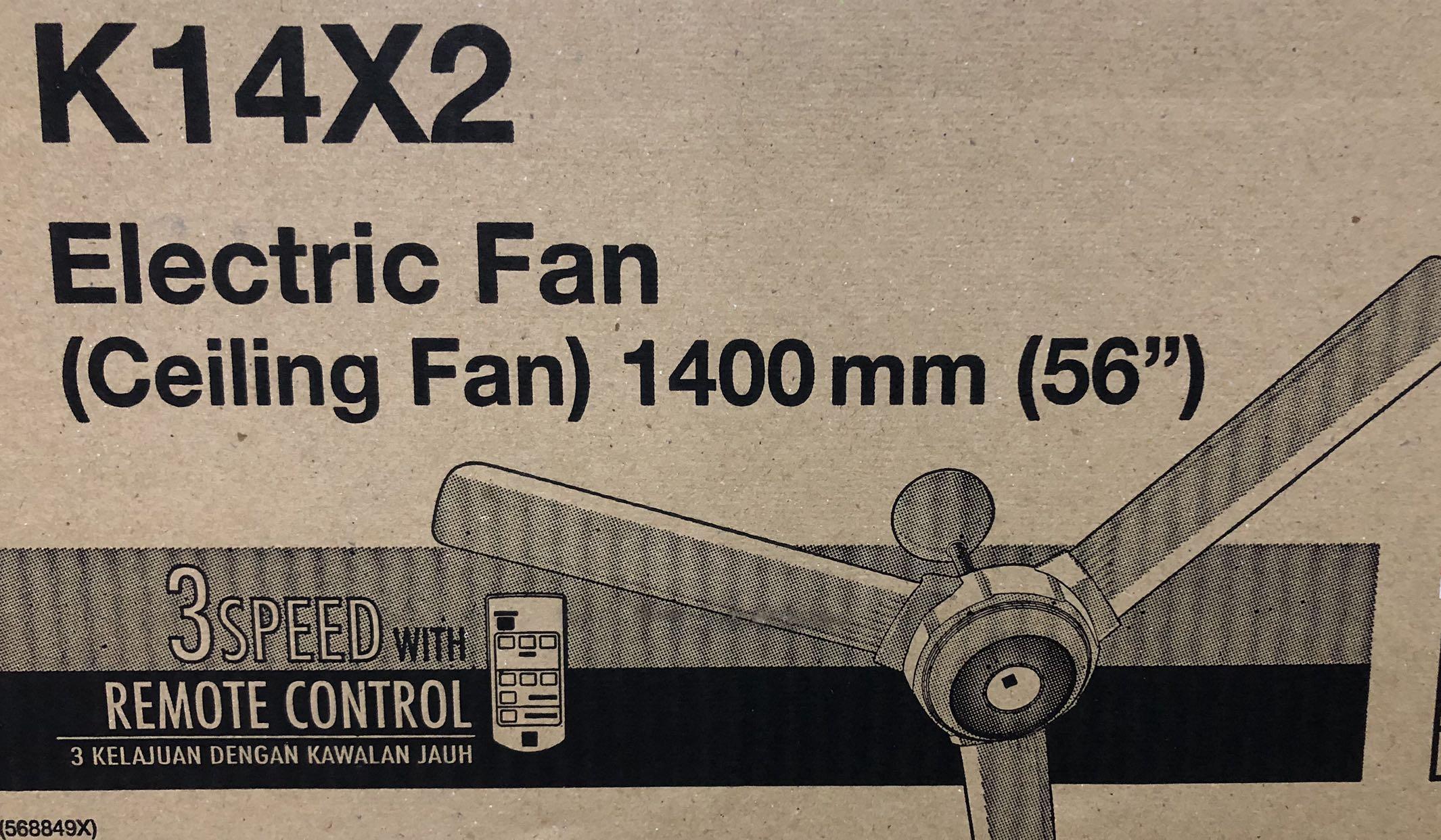 "KDK K14X2 56"" ceiling fan with remote"