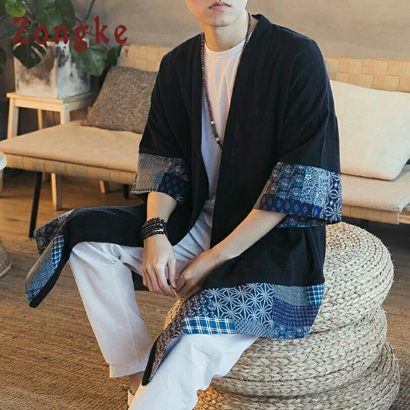 Kimono open stitch Mens Kimono Cardigan Long Jacket Men