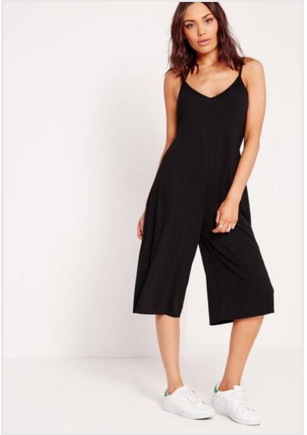 d5eaadfaea4 Missguided Black Jersey Plunge Culotte Jumpsuit  MakeSpaceforLove ...