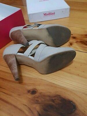 MOLLINI Strappy LEATHER Beige Mary Jane Shoes BLOCK Heels Size 6 or 6.5 / 37