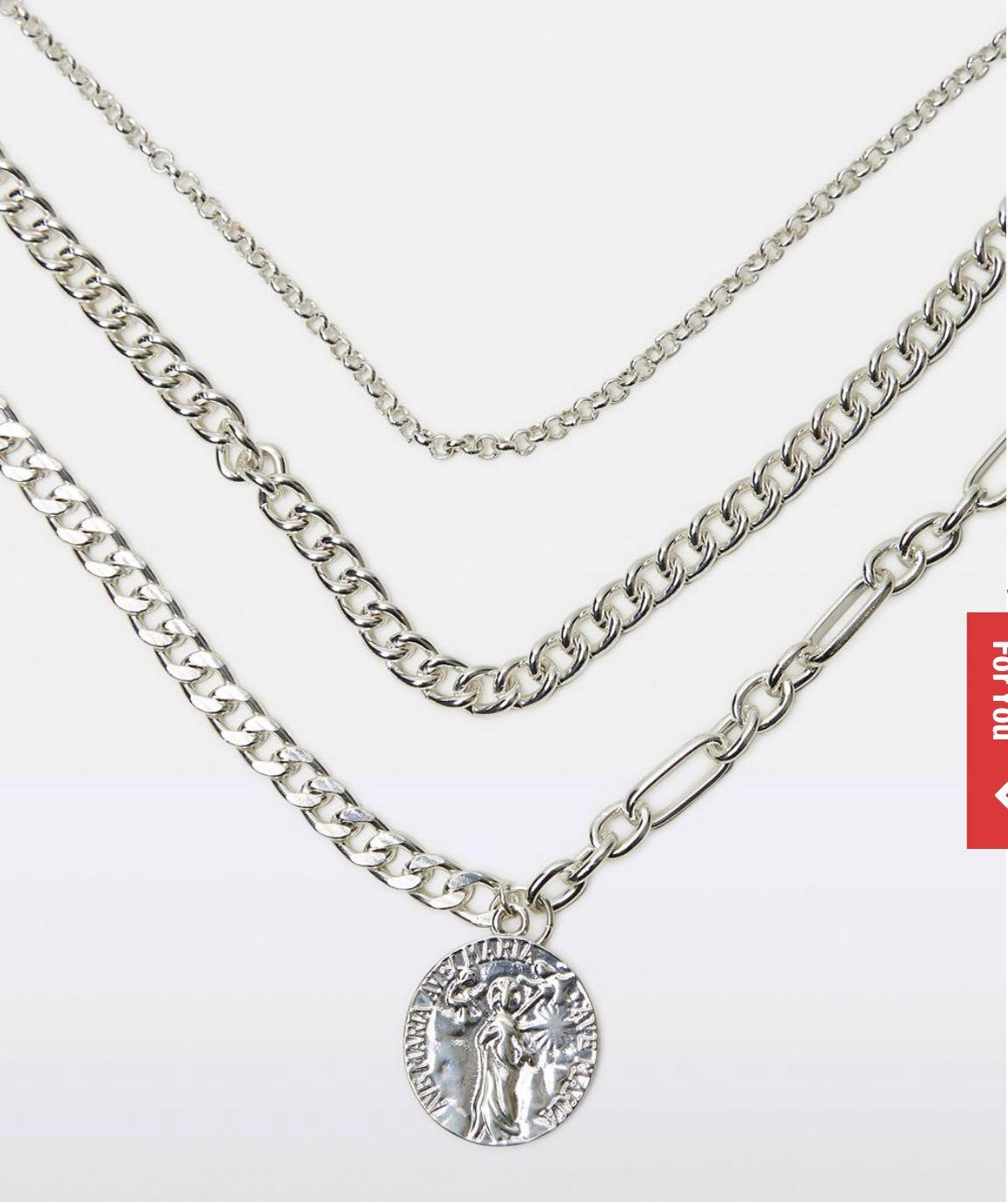 Neon Hart Chain Necklace Silver