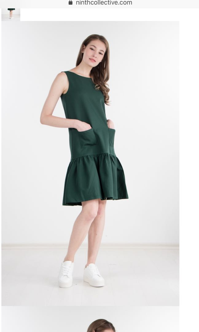 1220a23b843 Ninth Collective Feline Drop Waist Dress Forest Green