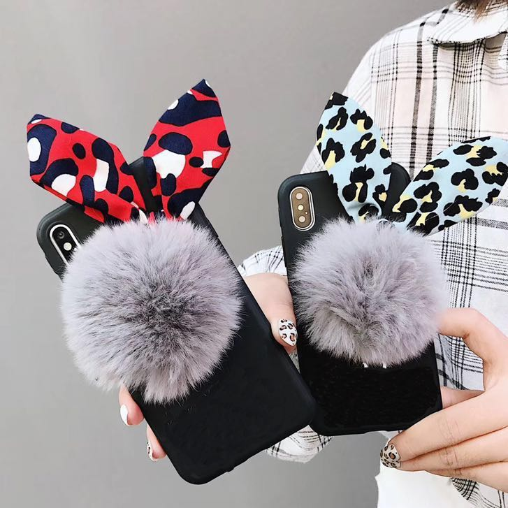 2c8083e4d01 OUT OF STOCK) Leopard Fluffy Pom Pom Phone Case