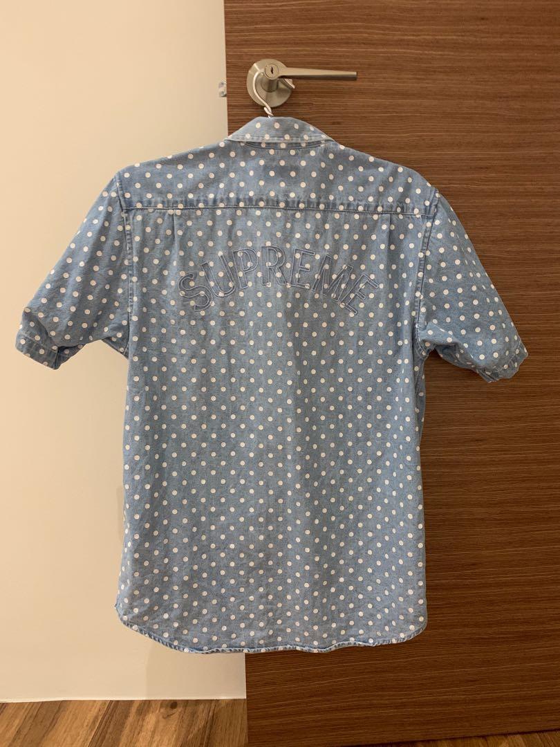 9f8e5402cf Polka Dots Short Sleeve Denim Shirt