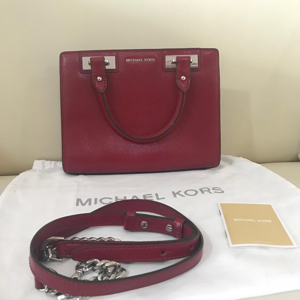 0fcbac20119e Preloved Vvgc Michael Kors Quinn Small Leather Satchel Glossy Cherry ...