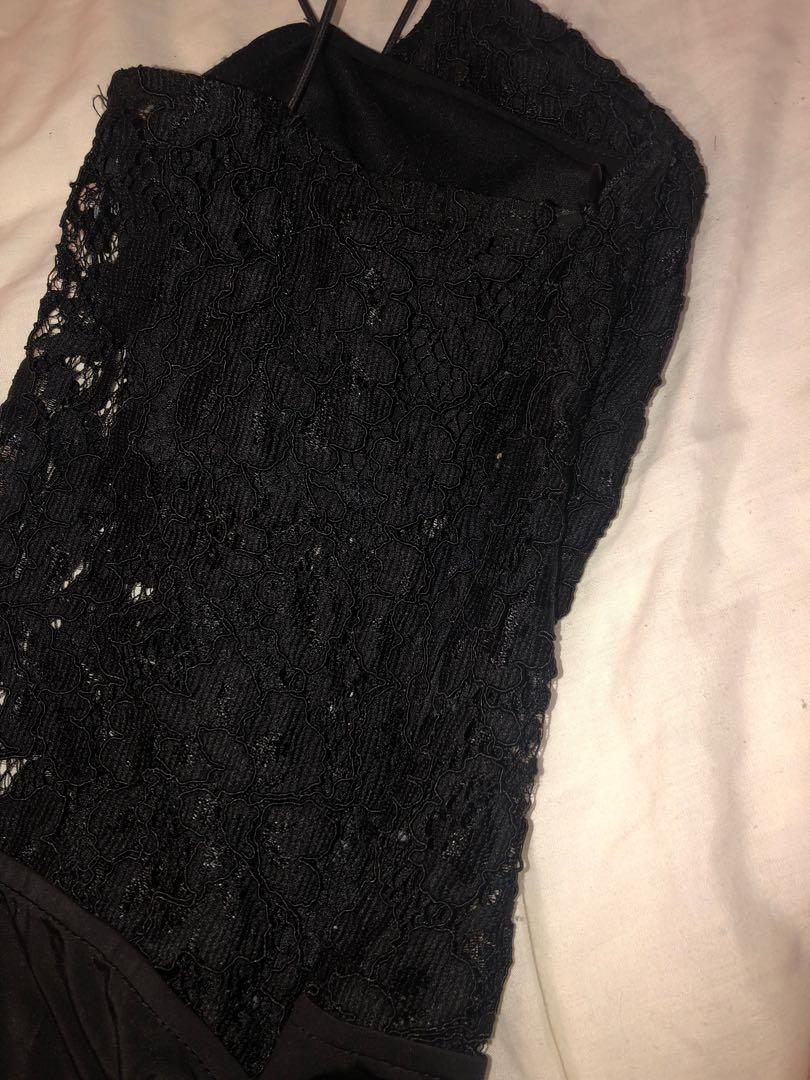 Pretty little thing penelope black eyelash choker lace thong bodysuit