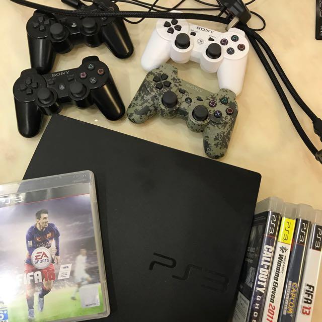 PS3 500GB Slim Full Set + 4 Controls + Games
