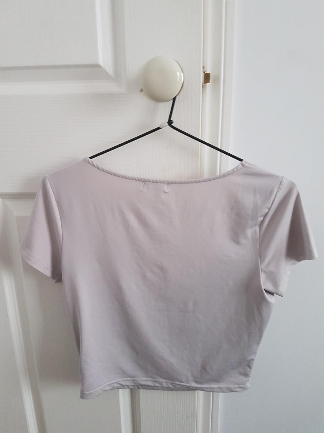 Purple grey short sleeve crop top
