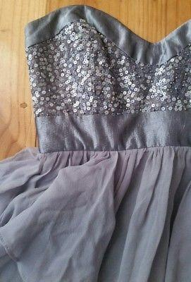 Silver Grey TRUESE Sweetheart Cocktail Strapless Races WATERFALL Dress Sz 6 8 XS