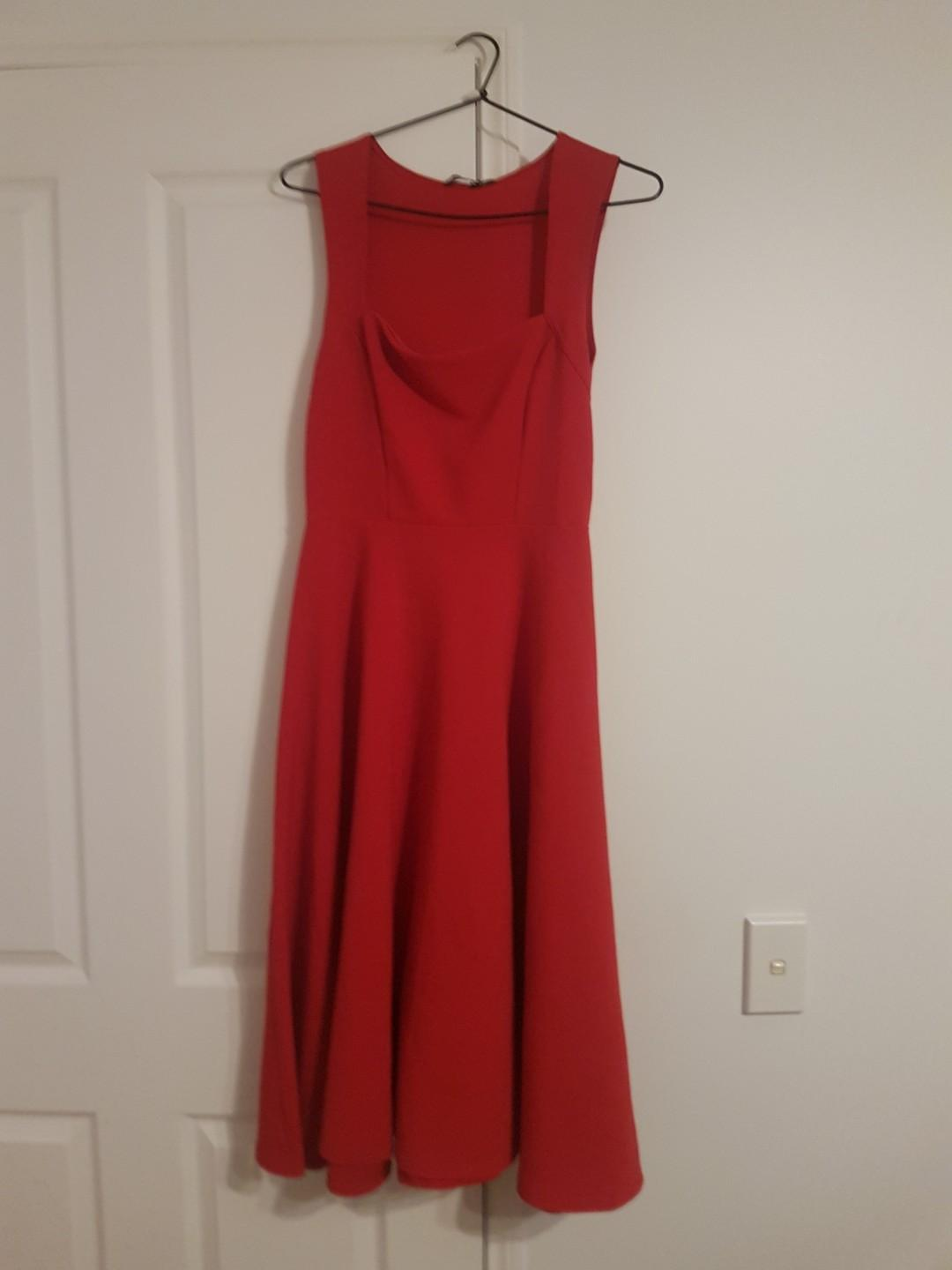 Square neck midi skater dress in red