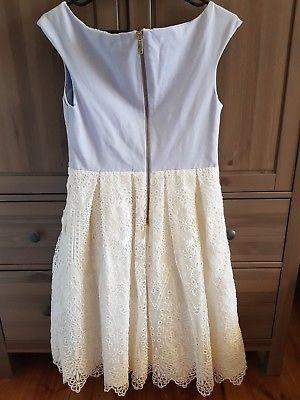 TED BAKER Powder Blue BARDOT NECKLINE White Crochet LACE Dress Sz 4 12-14 AU