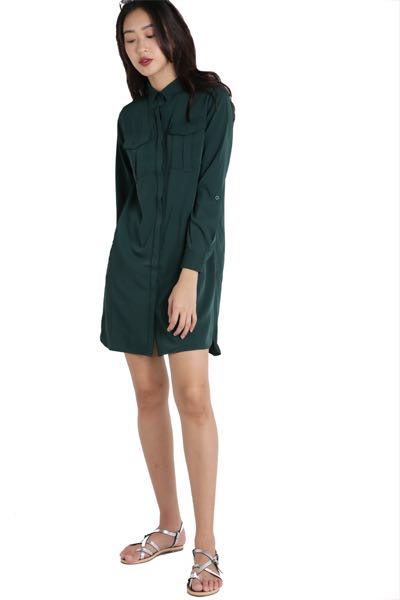 914ce8ae6 The Tinsel Rack Forest Green Shirt Dress, Women's Fashion, Clothes ...