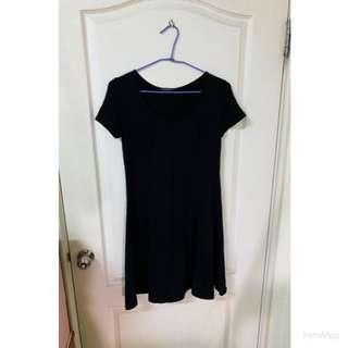 黑色純棉短袖洋裝