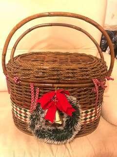 超厚實大藤籃 Big Christmas Basket 靚料 可當貓窩 可放雜物 聖誕裝飾