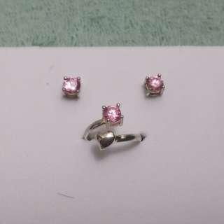 Fancy Jewelry Set: Pink Studs and Ring