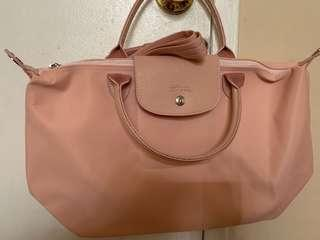 New! Authentic!Longchamp Neo medium Baby Pink crossbody/ tote