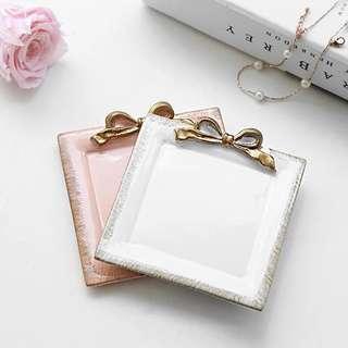 戒指收納盤 方盤 瓷盤 1白1粉