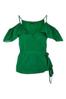 Topshop green Cold Shoulder Frill Wrap Top  Size 8