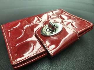Coach 銀包 women's wallet red 100% real