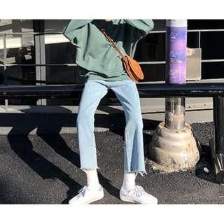 🚚 全新!高腰復古墜感寬鬆工裝牛仔直筒褲