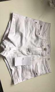 ZARA High Waisted Shorts in White Denim