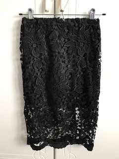 AVA Crochet Lace Midi Skirt with Slit in Black
