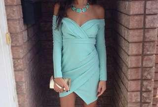 PEPPERMAYO Off Shoulder Long Sleeve Dress in Mint/Blue