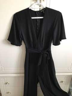 Short Sleeve Pant Romper with Belt in Black