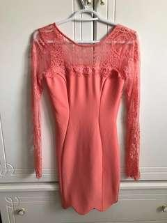 PEPPERMAYO Long Sleeve Lace Low V Back Scallop Trim  Dress in Pink/Peach