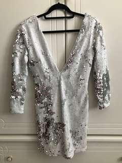 NASTY GAL Sequin Low V Neckline Dress in White/Silver