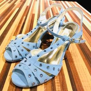 🚚 AS水藍色麂皮高跟涼鞋
