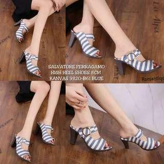 salvatore heels stripe blue