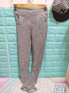 秋冬千鳥格腰鬆緊窄管褲鉛筆褲顯瘦長褲