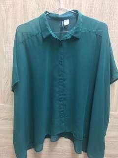 H&M深綠透膚雪紡罩衫