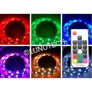 USB 2M 5V LED STRIP LIGHT 5050 RGB FLEXIBLE WATERPROOF WITH RF WIRELESS CONTROLLER