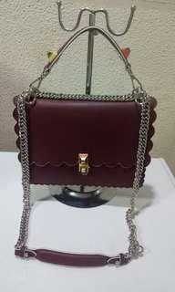 Fendi Kan Scalloped Chain Bag