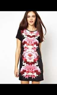 ASOS Ginger Fizz Shift Dress Mirror Orchid Print - Wild orchid / UK 6 / US 2