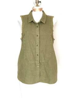 Free People Women Military Green Sleeveless Top